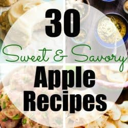 Enjoy apple season with these 30 Sweet & Savory Fall Apple Recipes! This round-up includes breakfast, salads, soups, side dishes and dessert recipes all made with fall's best fruit - apples!