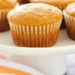 Easy Pumpkin Muffins are the perfect fall breakfast or snack! Using Bisquick as a shortcut makes these just about the easiest pumpkin muffins ever! Only 7 ingredients and 120 calories, you and your family will LOVE these delicious, light & fluffy easy pumpkin muffins for a quick fall breakfast!