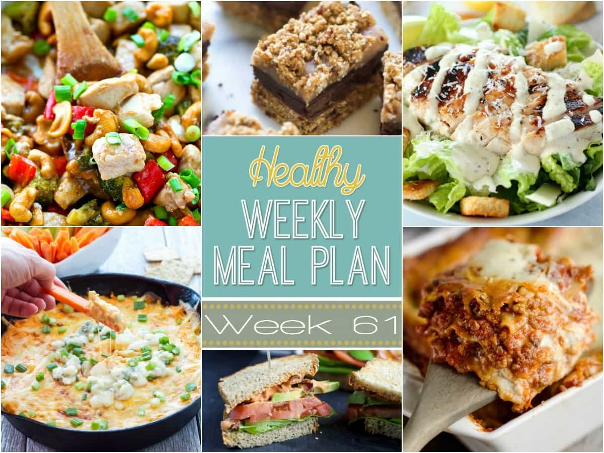 Healthy Weekly Meal Plan #61 is loaded with healthy dinner ideas! Plus a healthy breakfast, lunch, side dish and dessert that you will definitely not want to miss! These are some amazing recipes you will want to make!