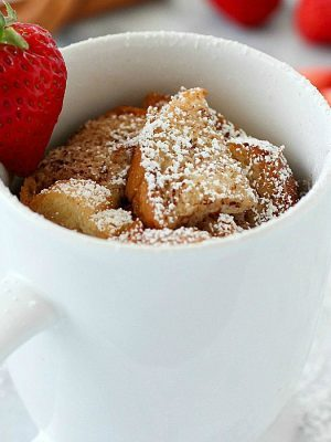 Quick & Easy Mug French Toast has all that you love about french toast but conveniently cooked right in a mug for a single serving! French Toast in a mug is such an easy breakfast for on-the-go plus it uses egg whites to save some calories. Only 170 calories and 12 grams of protein for a yummy and satisfying breakfast! AD