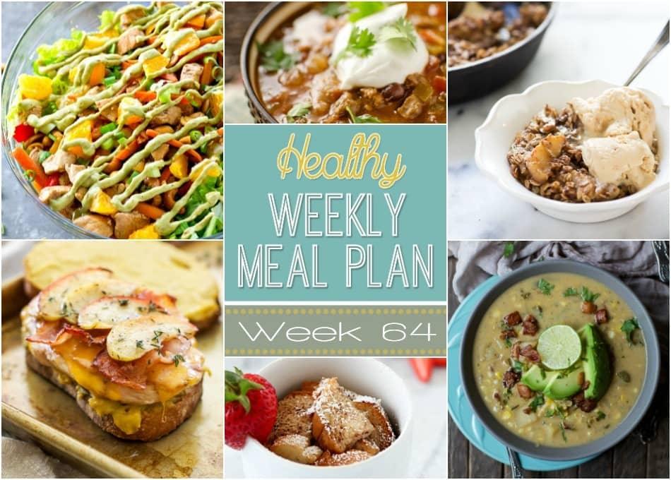 Healthy Weekly Meal Plan #64 - plan out your healthy dinners for the week! Plus we've thrown in a healthy breakfast, lunch, snack and dessert recipe, too! Can't wait for you to try these recipes!