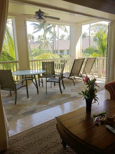 The Villas at Poipu Kai are gorgeous! Check out these patio doors that opened all the way to let that Hawaii breeze right inside the suite! (The Ultimate Kauai Travel Guide - What to do in Kauai) AD