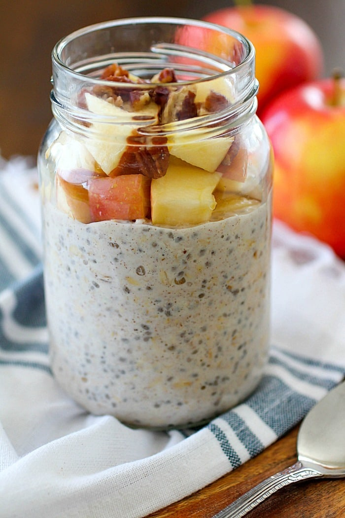 Apple Pie Overnight Oats from Yummy Healthy Easy on foodiecrush.com