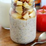 Apple Pie Overnight Oats are the BEST breakfast to wake up to! Easily make it in a mason jar the night before and eat in the morning. No cooking required! You will love the apple pie flavor in this oatmeal! AD