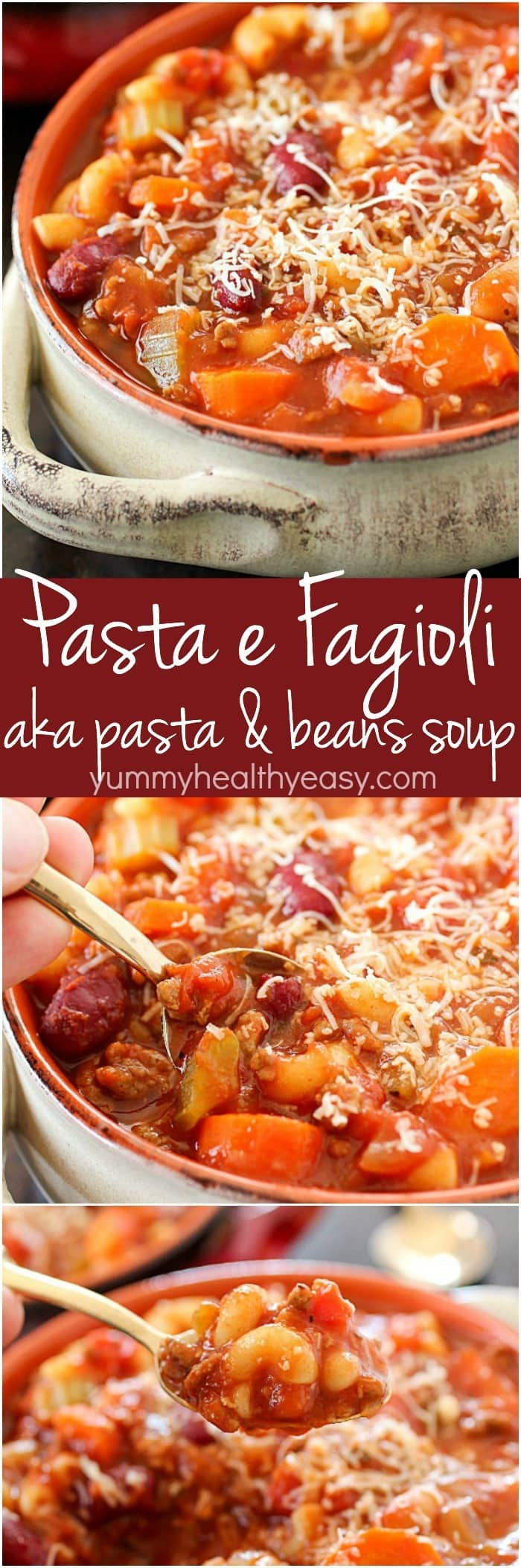 Pasta e Fagioli, which means pasta & beans in Italian, is a hearty & easy soup recipe full of beans, ground beef, a little bit of pasta and a lot of flavor! This Olive Garden copycat is a great dinner recipe for any night of the week!