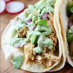 Crock Pot Pork Verde Tacos with Jalapeño Sauce