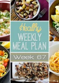 Our Healthy Weekly Meal Plan is full of delicious dinner recipes plus a healthy breakfast, lunch, side dish and dessert recipes all for you to try out! You will love these creative and healthy recipes we bring every week! Week #67 is full of healthier spins on some classics!