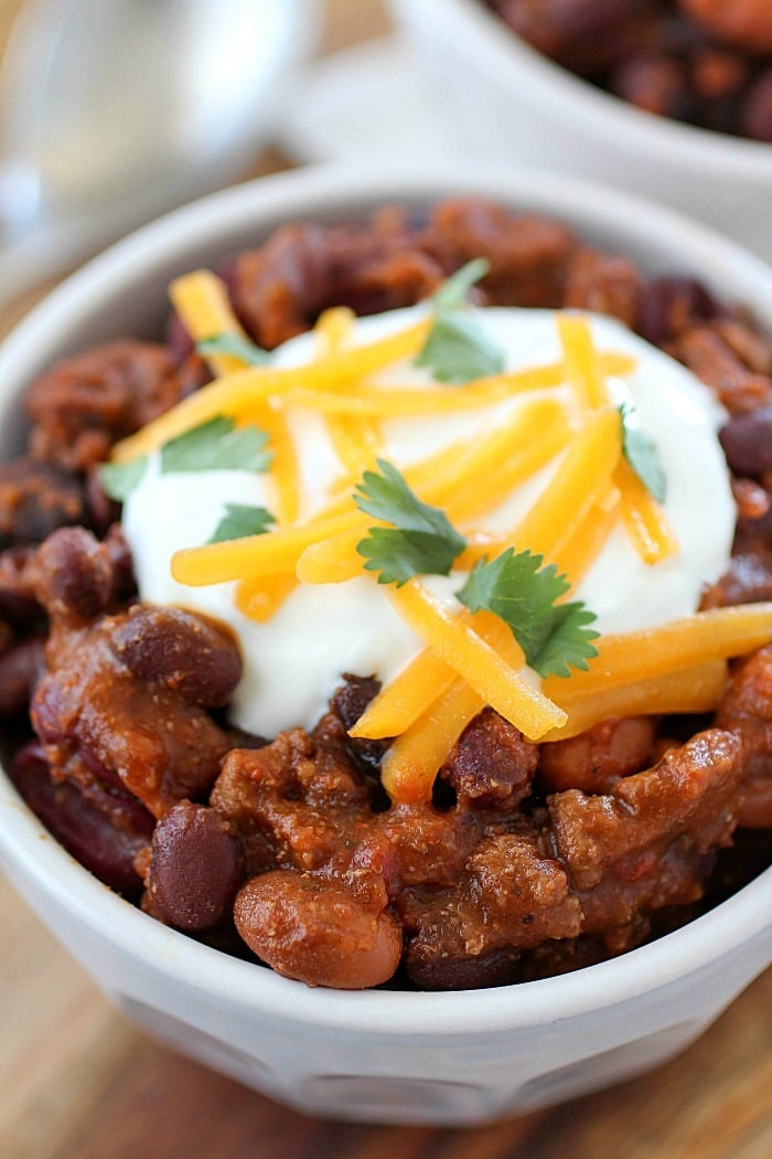 Crock Pot Three Bean Chili that is packed with flavor! You will love ...