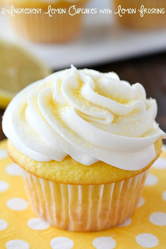 2-Ingredient Lemon Cupcakes & Lemon Frosting