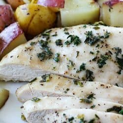 One-Pan Herb Baked Chicken and Potatoes makes making dinner a breeze! Chicken and potatoes are coated in a delicious salty herb rub and baked in one pan. The baked chicken is tender and juicy and the potatoes have so much flavor. This is an easy dinner everyone will love! AD