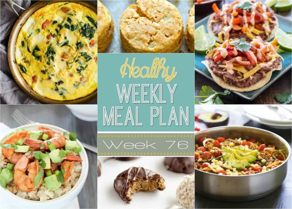Healthy Weekly Meal Plan #76 - plan out your dinners for the week with these insanely delicious recipes! Also included are a healthy breakfast, lunch, snack, side dish and dessert recipe, too! You will love these healthy recipes for the New Year!