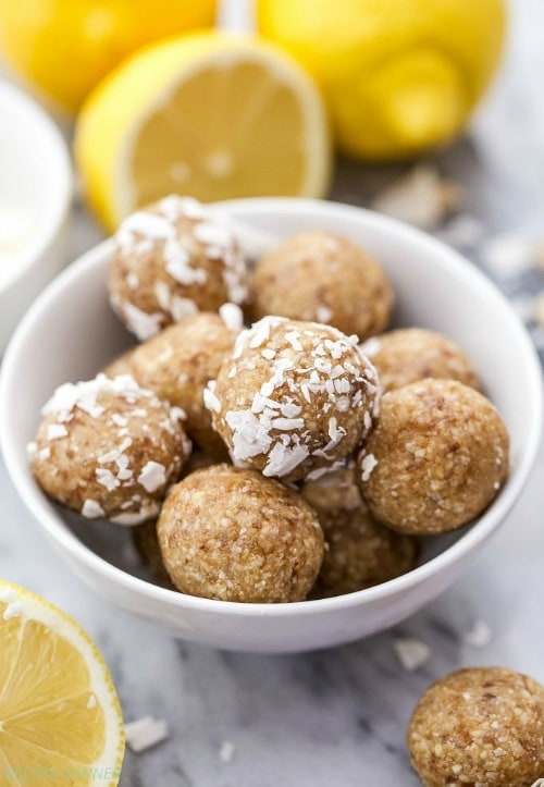 Add a bit of fresh lemony flavor to your pre or post workout snack! These Lemon Coconut Cashew Energy Bites are easy to make, only use 4 ingredients, and they're paleo, vegan and gluten-free!