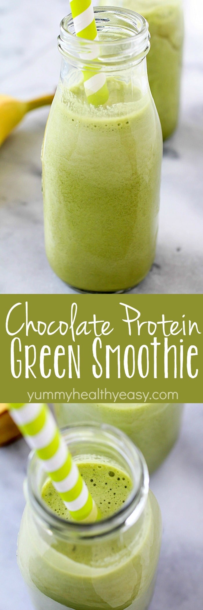 This Chocolate Protein Green Smoothie combines the filling power of protein powder and almonds + the health benefits from the green smoothie! This smoothie makes a great breakfast, snack or post-workout drink and tastes delicious!