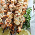 Lemon Oregano Chicken & Shrimp Skewers are marinated and then grilled for a delicious and healthy dinner recipe! Cue the hallelujah chorus! Deliciousness on a stick! This is also great for meal prepping! (high protein, paleo and clean eating)