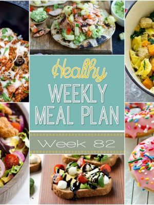 Healthy Weekly Meal Plan #82 is full of delicious dinner recipes for you to try every night of the week plus a breakfast, lunch, snack, side dish and dessert recipe, too. The best part is they're all healthy!