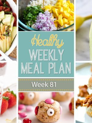 Healthy Weekly Meal Plan #81 is a menu plan built custom every week to help you eat healthier and make life easier! You will love the variety of dinner recipes. Also included are a healthy breakfast, lunch, side dish, snack and dessert to make throughout the week. Enjoy!
