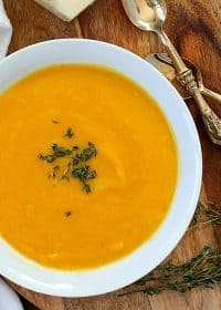 This is the BEST ever EASY Butternut Squash Soup! Only a few ingredients to make this incredible soup. This is one of our favorite soups to make on a cold day! (Vegetarian, gluten-free, paleo and clean eating)
