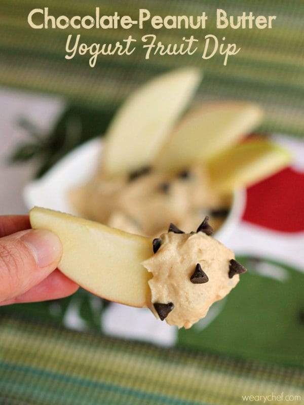Peanut Butter Chocolate Yogurt Fruit Dip - The Weary Chef