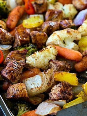 Sheet Pan Spicy Balsamic Roasted Chicken & Veggies