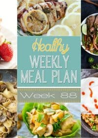 This week's Healthy Weekly Meal Plan #88 has a healthy dinner recipe for every day of the week plus a healthy breakfast, lunch, side dish and dessert recipe! This is the easiest way to eat healthy through the week - we've done the hard work for you! :)