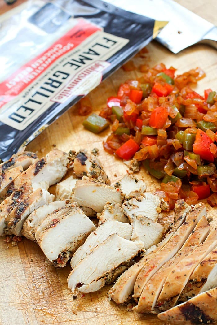 All the ingredients you need for the Best Ever Chicken Fajita Quesadilla!