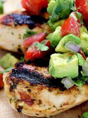 Grilled Cilantro Lime Chicken with Avocado Salsa Topping