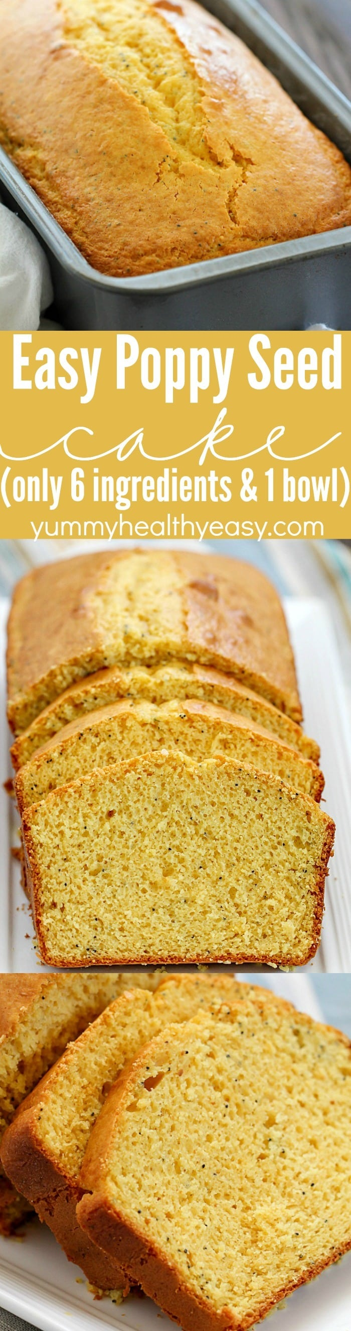 This is the easiest Poppy Seed Cake ever! You only need 6 ingredients and one bowl to make this incredibly soft and flavorful loaf cake!