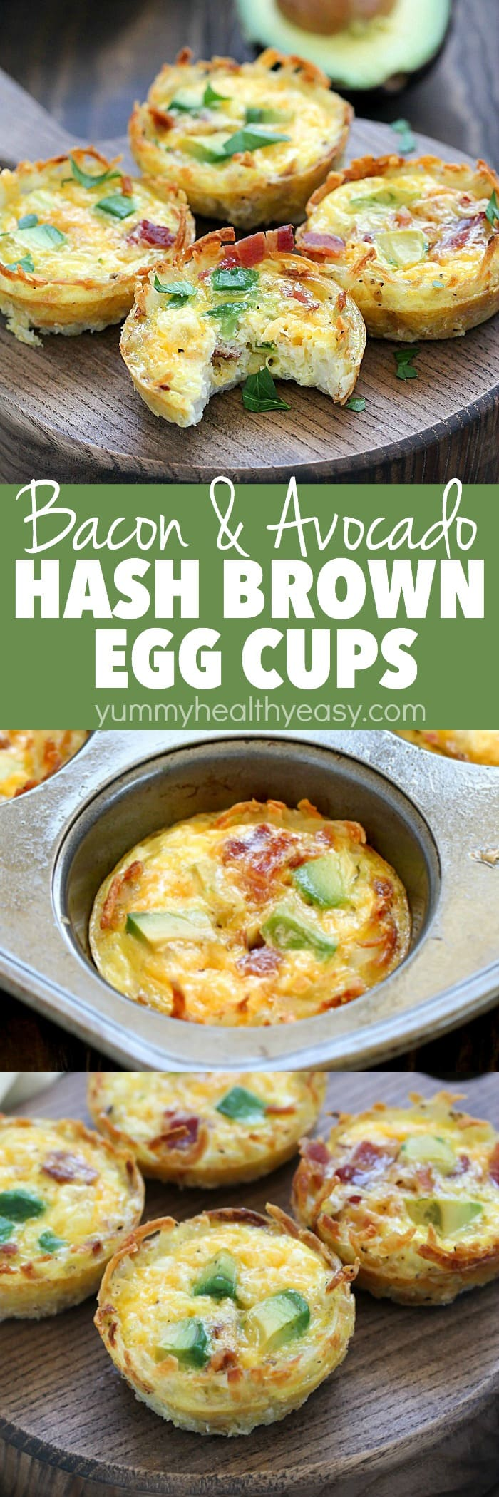 Bacon & Avocado Hash Brown Egg Cups are the perfect make-ahead breakfast! They have a crispy crust of hash browns and are filled with bacon, egg, cheese and avocado deliciousness. They have so much flavor packed into a muffin size breakfast bite! AD via @jennikolaus