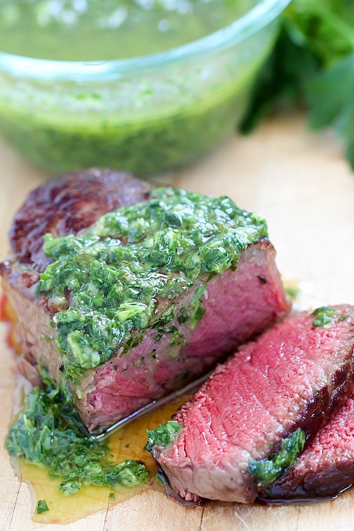 Tender & Juicy Beef Medallions with flavorful Chimichurri Sauce