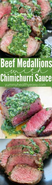 Tender Beef Medallions (Beef Tenderloin) slathered with Chimichurri Sauce