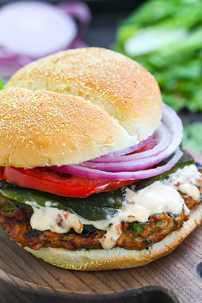 Chicken Fajita Burger with Chipotle Mayo!