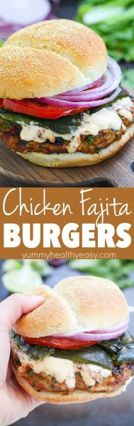 Delicious Chicken Fajita Burgers with Chipotle Mayonnaise