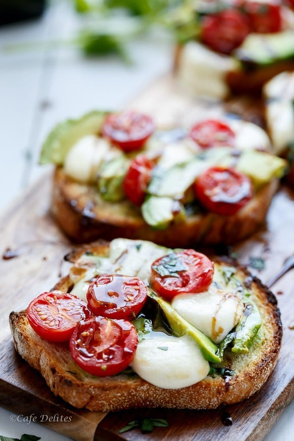 Grilled Avocado Caprese Crostini by Cafe Delites