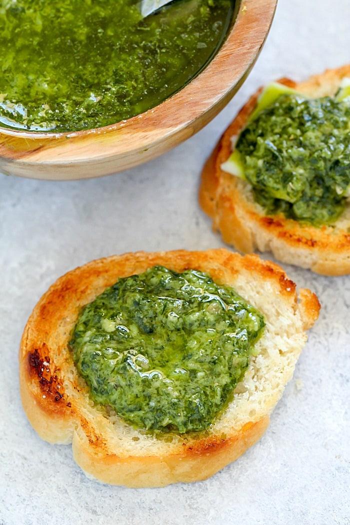 Italian Salsa Verde to serve over crispy baguette slices or meat!