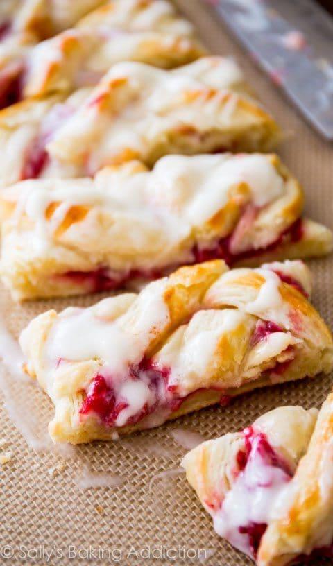 Iced Raspberry Danish Braid by Sally's Baking Addiction
