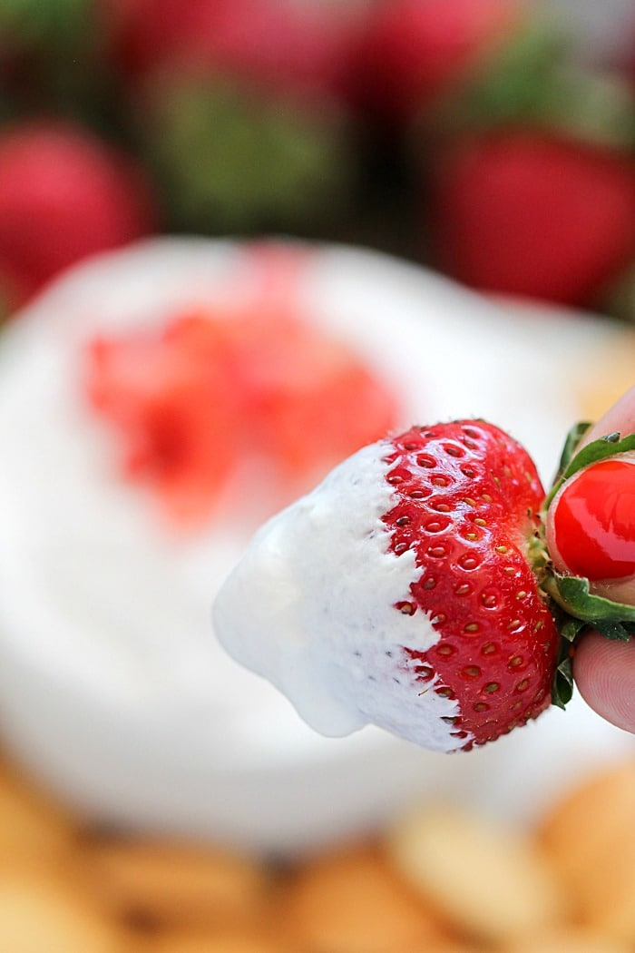 Creamy Strawberry Cheesecake Dip perfect for dipping fruit!