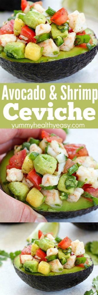 Avocado Shrimp Ceviche Recipe is served in avocado halves for less carbs. SO fresh and delicious! AD
