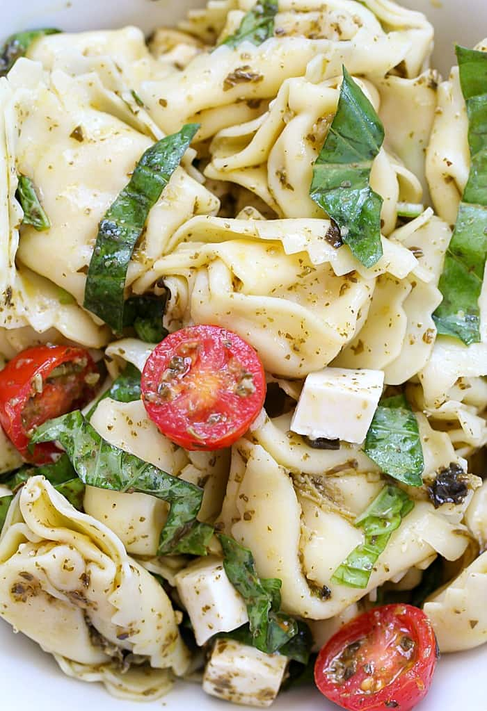 This Easy Tortellini Pesto Salad is the perfect side dish for a BBQ or potluck!