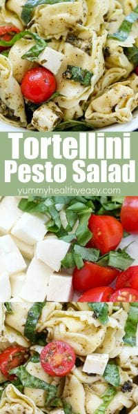 This Easy Tortellini Pesto Salad is full of tortellini pasta, cherry tomatoes, mozzarella, basil and pesto - you can't go wrong!