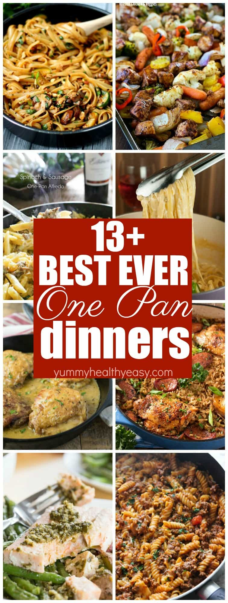 Try these easy ONE PAN meals out for your next dinner! These 13+ recipes will have you drooling and won't have you doing dishes all night!  via @jennikolaus