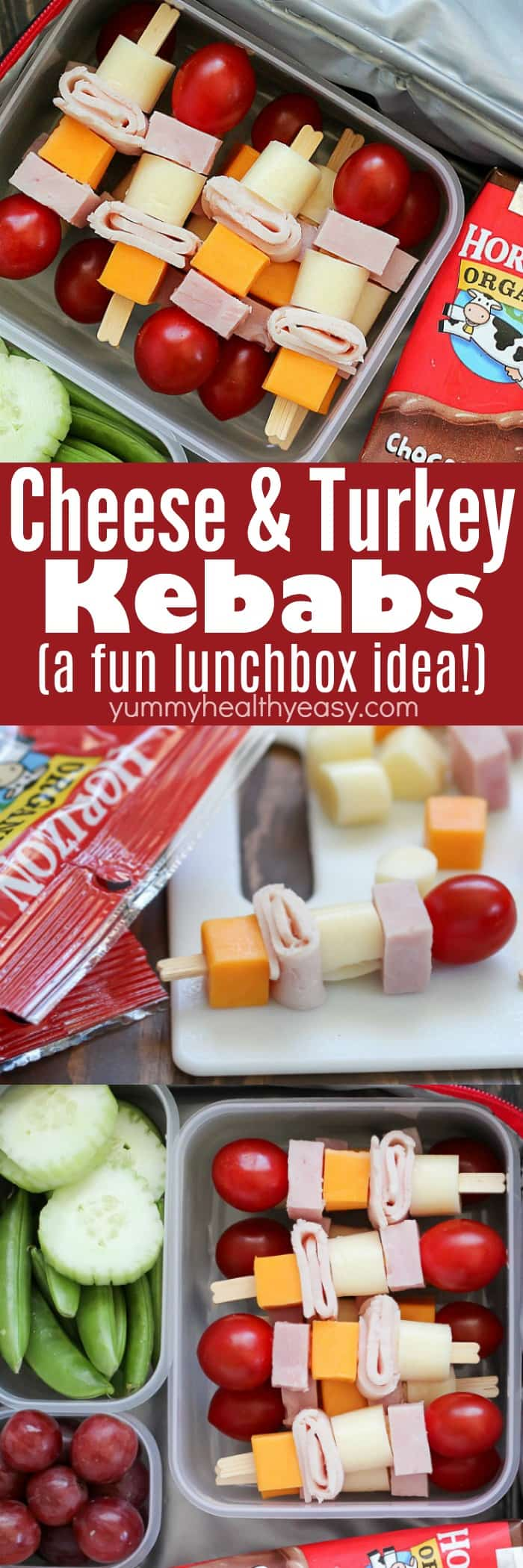 These Cheese & Turkey Kebabs are the cutest lunchbox idea for both kids AND adults! Cubed turkey and cheese are skewered onto toothpicks for a fun change up for lunch! AD via @jennikolaus