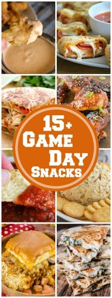 These 15+ Game Day Snacks are seriously the BEST EVER snacks/appetizers that you will love to serve up at the next big sports game!