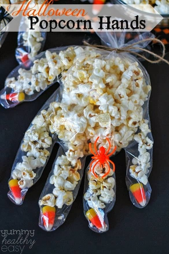 Easy & Fun Popcorn Hands - 21 Cute Halloween Snacks for Kids!