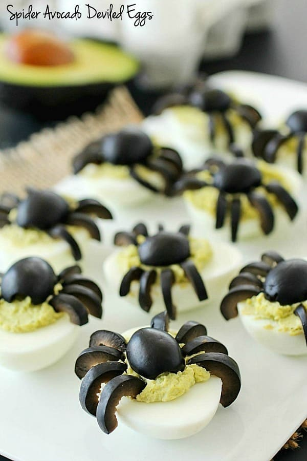 Spider Avocado Deviled Eggs - 21 Cute Halloween Snacks for Kids!