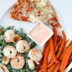 Baked Sweet Potato Fries and Shrimp Kale Caesar Salad