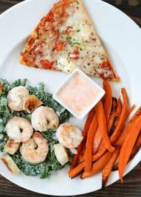 Baked Sweet Potato Fries and Shrimp Kale Caesar Salad