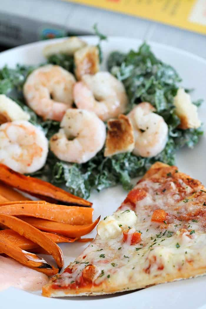 Making healthy side dishes doesn't have to be hard or take a lot of time! Try these 2 easy side dishes: Baked Sweet Potato Fries (with a yummy Sriracha dipping sauce) and Shrimp Kale Caesar Salad! They're ready in no time! AD