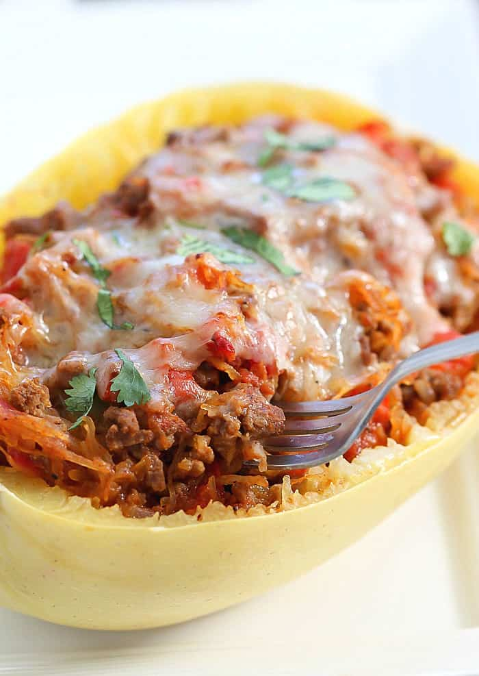 Easy, Healthy & Low Carb Taco Stuffed Spaghetti Squash Recipe!