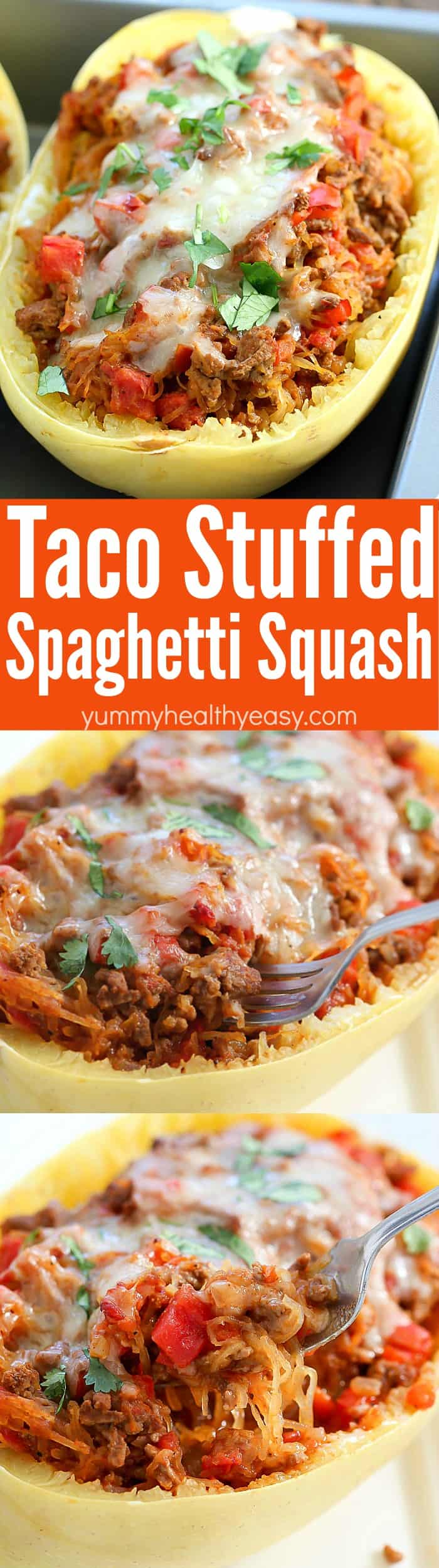 Satisfy your taco craving with a lower carb version with this Taco Stuffed Spaghetti Squash! All the yumminess of tacos mixed with spaghetti squash for a satisfying, low carb dinner!