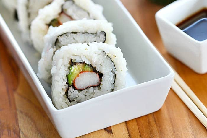Instead of getting sushi at a restaurant, save money and make California Sushi Rolls in the convenience of your home! It's easy and I'll show you how in this post!